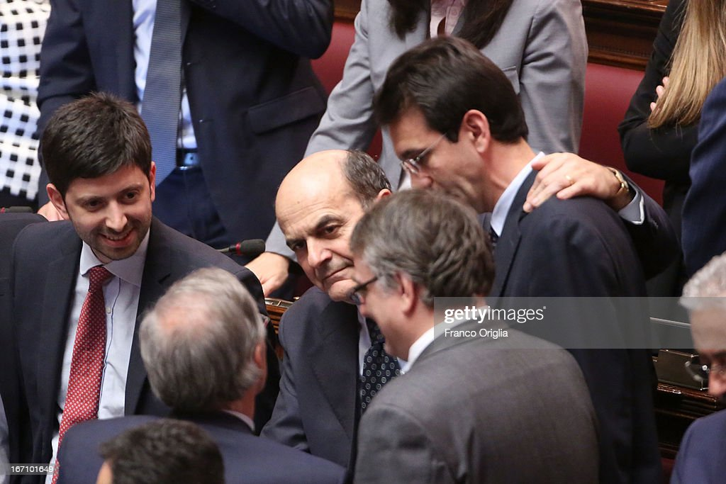 <a gi-track='captionPersonalityLinkClicked' href=/galleries/search?phrase=Pier+Luigi+Bersani&family=editorial&specificpeople=4182508 ng-click='$event.stopPropagation()'>Pier Luigi Bersani</a> (C) leader of Democratic Party reacts after Parliament voted for President of Republic on April 20, 2013 in Rome, Italy. After five ballots ended in deadlock the Italian Parliment has re-elected President Giorgio Napolitano for a second term following a last-minute deal between party chiefs.
