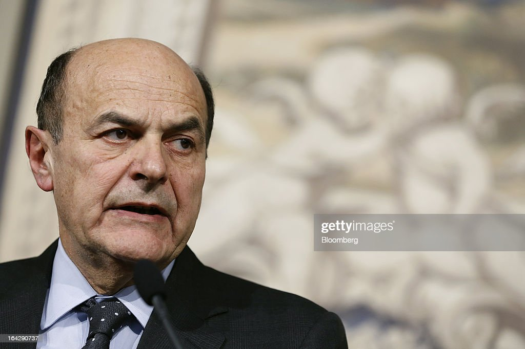 Pier Luigi Bersani, leader of Italy's Democratic Party and prime minister-designate, speaks at a news conference at the Quirinale Palace in Rome, Italy, on Friday, March 22, 2013. Bersani, the ex-communist and leader of Italy's biggest political party, was given a mandate by President Giorgio Napolitano to seek lawmaker support for a new government. Photographer: Alessia Pierdomenico/Bloomberg via Getty Images