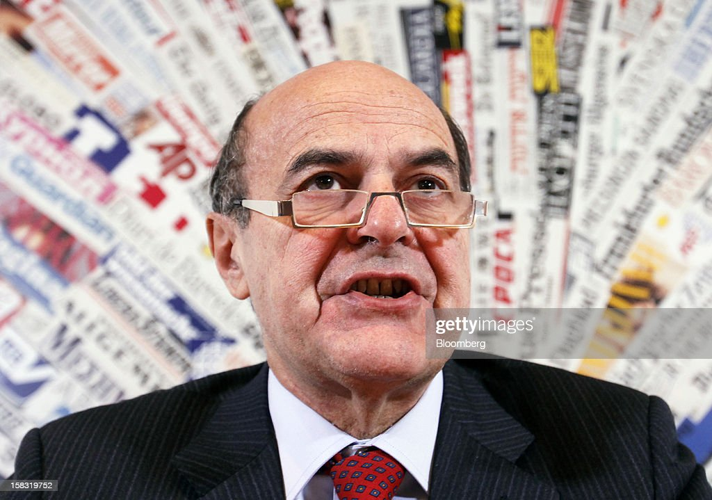 """Pier Luigi Bersani leader of Italy's Democratic Party speaks during a news conference in Rome Italy on Thursday Dec 13 2012 """"I have told Mario Monti..."""