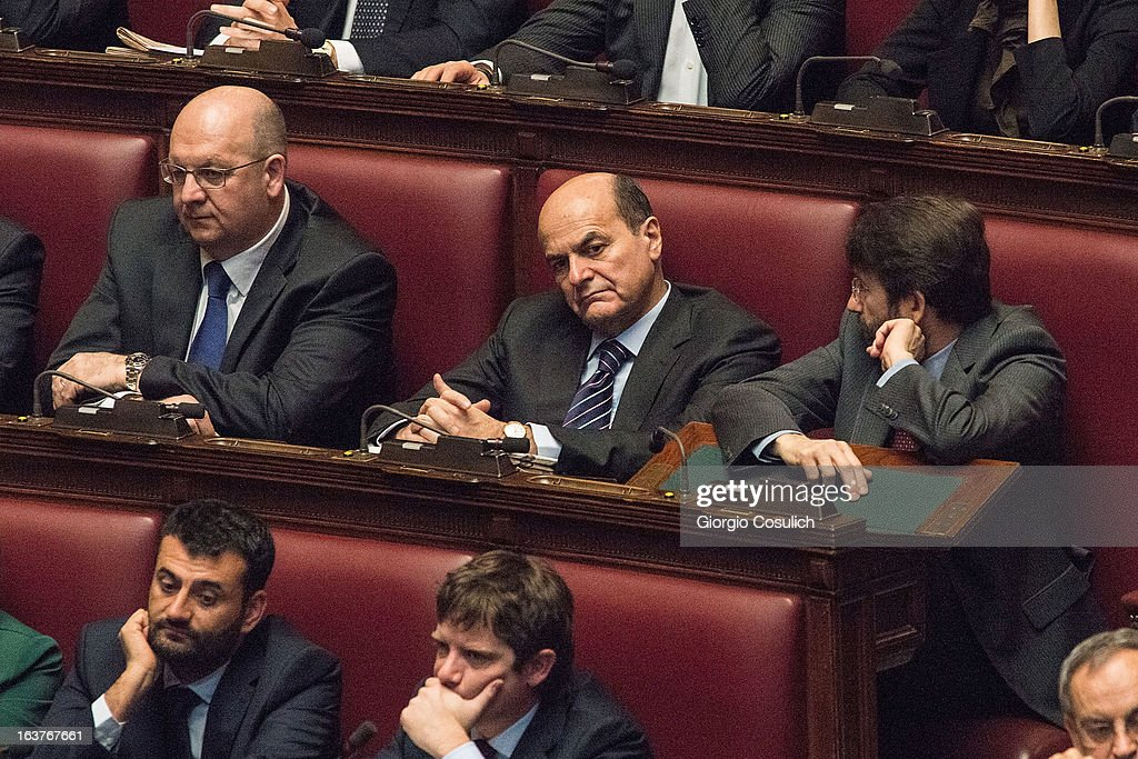 Pier Luigi Bersani (C), leader of the Democratic Party, attends the first meeting of the new Italian parliament March 15, 2013 in Rome, Italy. The new Italian parliament opens the 17th Legislature wtth the task of electing the President of the House of Parliament and of the Senate before giving way to a new government. Pier Luigi Bersani, leader of the Democratic Party, asked senators and representatives to enter blank votes to continuing working on an agreement with the 5-Star Movement (M5S).