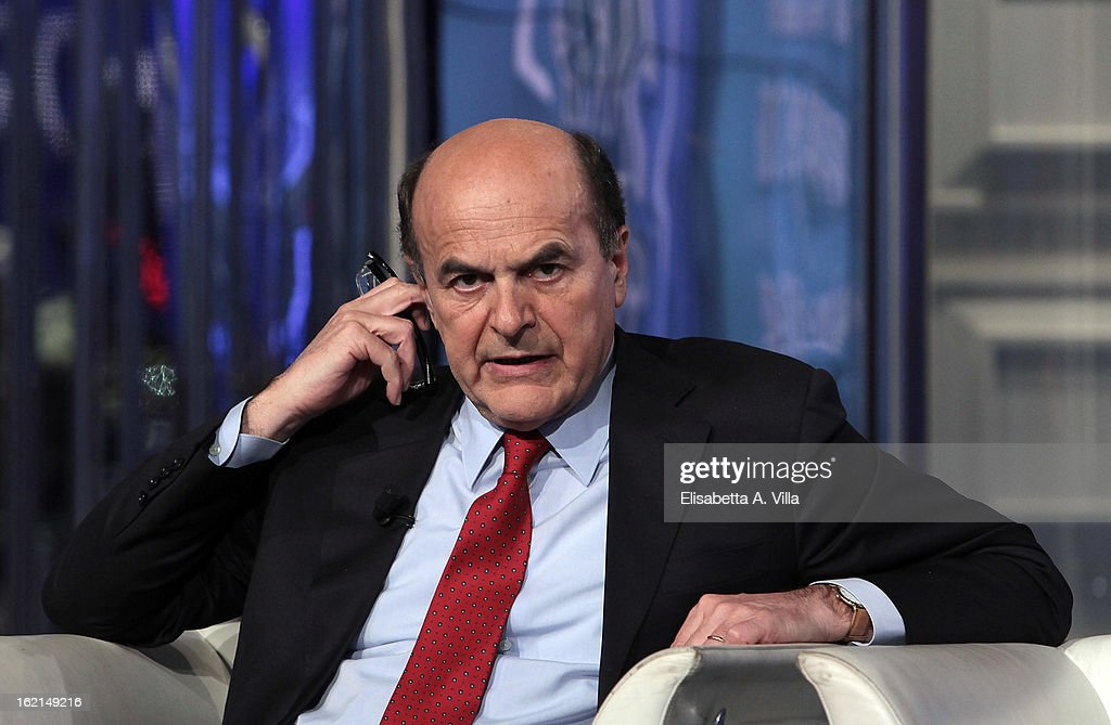 <a gi-track='captionPersonalityLinkClicked' href=/galleries/search?phrase=Pier+Luigi+Bersani&family=editorial&specificpeople=4182508 ng-click='$event.stopPropagation()'>Pier Luigi Bersani</a>, leader of the Italian centre-left Democratic Party (PD) attends 'Porta A Porta' TV Show on February 19, 2013 in Rome, Italy. The premier candidate Bersani continues his campaign for the upcoming general elections that takes place on February 24th and 25th.
