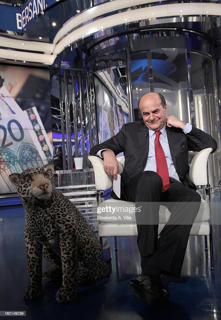 Pier Luigi Bersani leader of the Italian centreleft Democratic Party poses with a jaguar stuffed animal during 'Porta A Porta' TV Show on February 19...