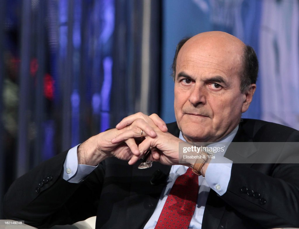 Pier Luigi Bersani, leader of the Italian centre-left Democratic Party (PD) attends 'Porta A Porta' TV Show on February 19, 2013 in Rome, Italy. The premier candidate Bersani continues his campaign for the upcoming general elections that takes place on February 24th and 25th.