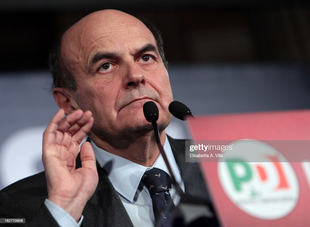 Pier Luigi Bersani leader of the Italian centreleft Democratic Party addresses journalists at the PD headquarters on February 25 2013 in Rome Italy...