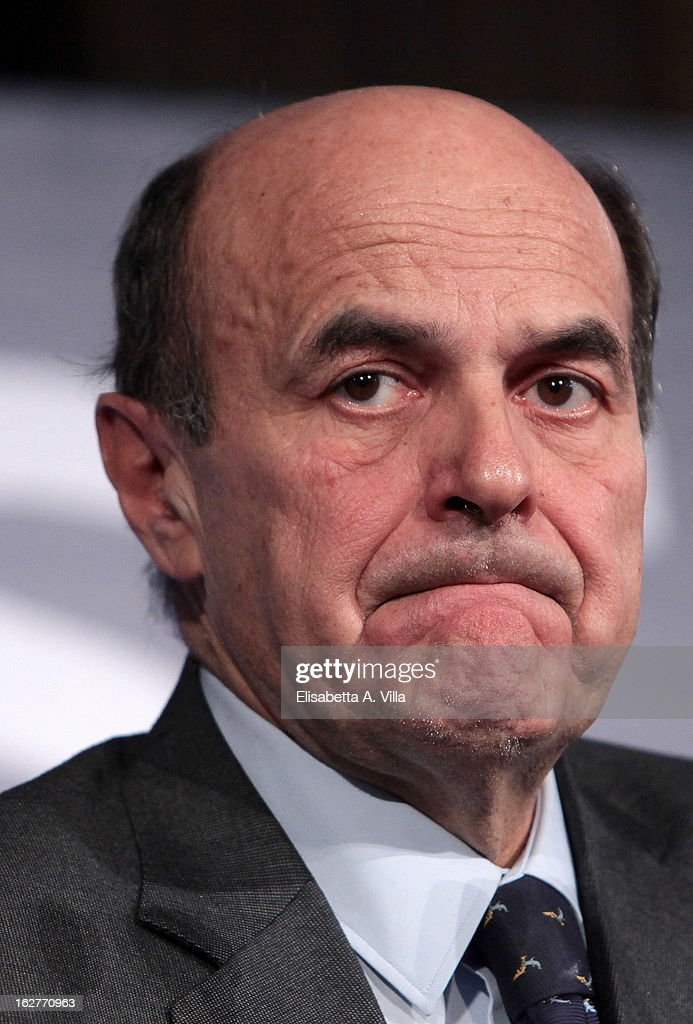 <a gi-track='captionPersonalityLinkClicked' href=/galleries/search?phrase=Pier+Luigi+Bersani&family=editorial&specificpeople=4182508 ng-click='$event.stopPropagation()'>Pier Luigi Bersani</a>, leader of the Italian centre-left Democratic Party (PD), addresses journalists at the PD headquarters on February 25, 2013 in Rome, Italy. Election results show Bersani's centre-left alliance winning a few points ahead of the centre-right coalition lead by Silvio Berlusconi and Movimento 5 Stelle (Five Stars Movement).