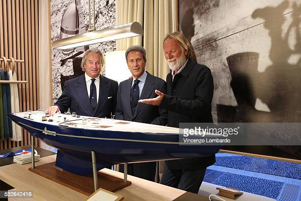 Pier Luigi Loro Piana Riccardo Bonadeo and Mauro Pelaschier attend the Pelaschierattends the Montenapoleone Yacht Club Opening Cocktail in via...