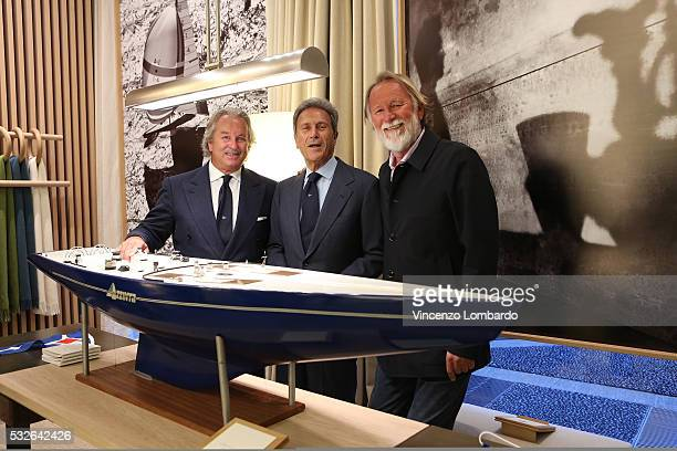 Pier Luigi Loro Piana Riccardo Bonadeo and Mauro Pelaschier attend the Montenapoleone Yacht Club Opening Cocktail in via Montenapoleone luxury...