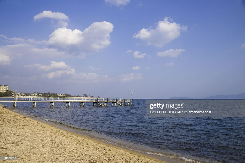 Pier on Lake Biwa, Otsu, Shiga Prefecture, Japan : Stock Photo