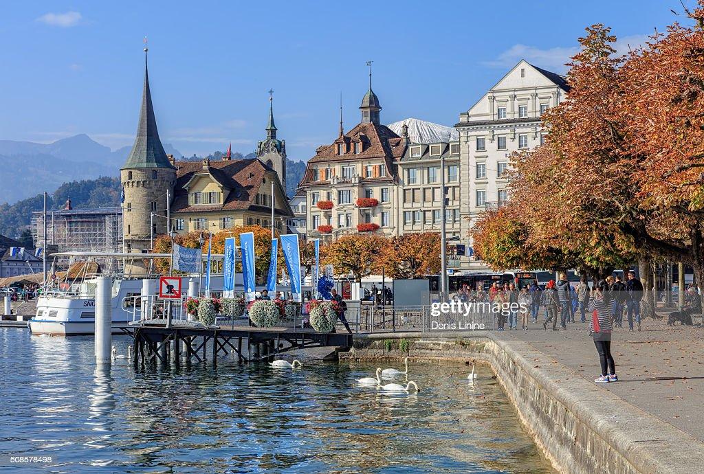 Jetée sur le quai Schweizerhofquai à Lucerne : Photo