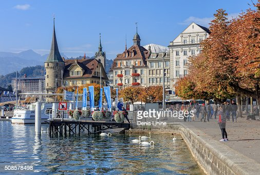 Pier on the Schweizerhofquai quay in Lucerne : Stock Photo
