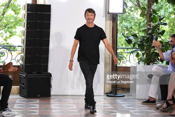 Pier Paolo Piccioli walks the runway during the Valentino Menswear Spring/Summer 2018 show as part of Paris Fashion Week on June 21 2017 in Paris...