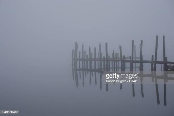 Pier reflecting on lake