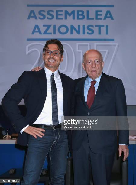 Pier Silvio Berlusconi and Fedele Confalonieri attend the Mediaset Stakeholders Meeting on June 28 2017 in Milan Italy