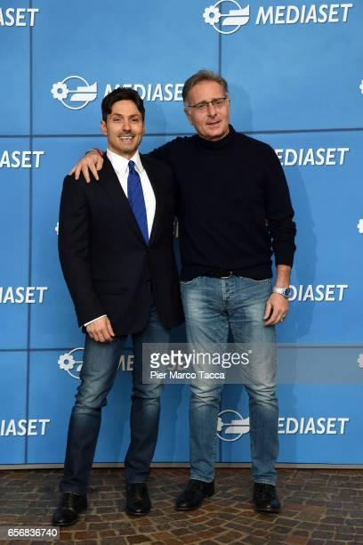 Pier Silvio Berlusconi and Paolo Bonolis attend the Paolo Bonolis press meeting on March 23 2017 in Milan Italy