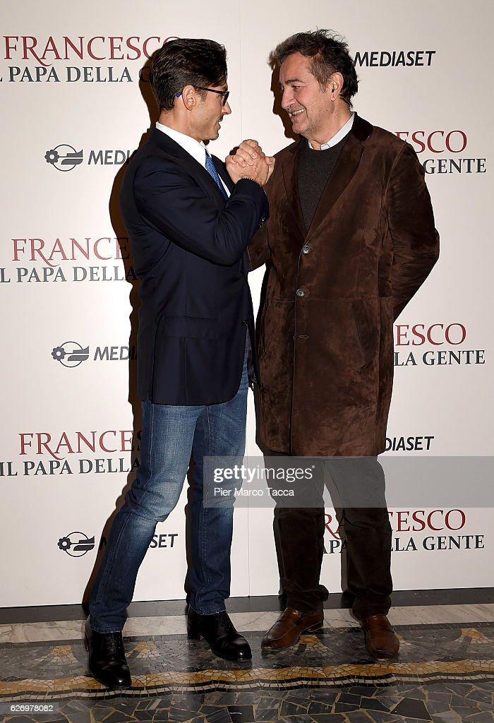 Pier Silvio Berlusconi and Pietro Valsecchi attend 'Francesco, Il Papa della Gente' TV show presentation at cinema Odeon on December 1, 2016 in Milan, Italy.
