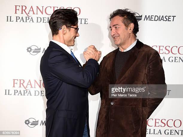 Pier Silvio Berlusconi and Pietro Valsecchi attend 'Francesco Il Papa della Gente' TV show presentation at cinema Odeon on December 1 2016 in Milan...