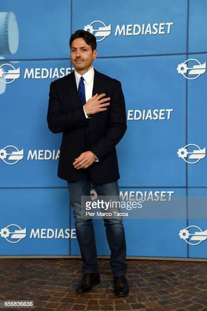 Pier Silvio Berlusconi attends the Paolo Bonolis press meeting on March 23 2017 in Milan Italy