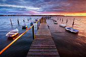 Sunset over a jetty in Poole Harbour, Dorset