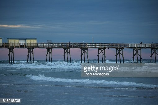 Pier with Pink Sky : Stock Photo