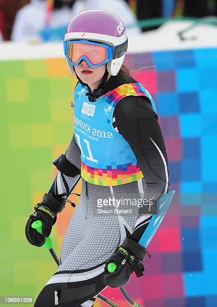 Piera Hudson of New Zealand at the finish of the Alpine Skiing Women's SuperG race on January 14 2012 in Patscherkofel Austria