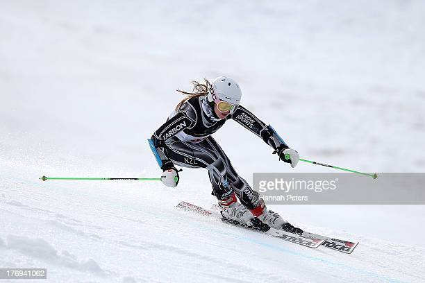Piera Hudson of New Zealand competes during the Womens Alpine Giant Slalom during day six of the Winter Games NZ at Coronet Peak on August 20 2013 in...