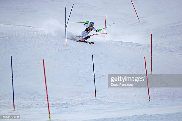 Piera Hudson of New Zealand competes in slalom during the Adui FIS Women's Alpine Ski World Cup at the Nature Valley Aspen Winternational on November...