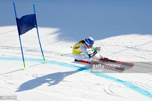 Piera Hudson of New Zealand competes in the Alpine Giant Slalom FIS Australia New Zealand Cup during the Winter Games NZ at Coronet Peak on August 30...