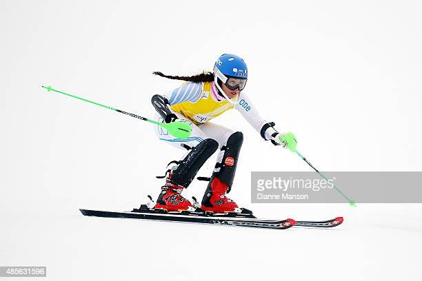 Piera Hudson of New Zealand competes in the Alpine Slalom FIS Australia New Zealand Cup during the Winter Games NZ at Coronet Peak on August 29 2015...