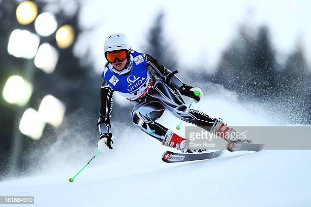 Piera Hudson of New Zealand skis in the Women's Giant Slalom during the Alpine FIS Ski World Championships on February 14 2013 in Schladming Austria