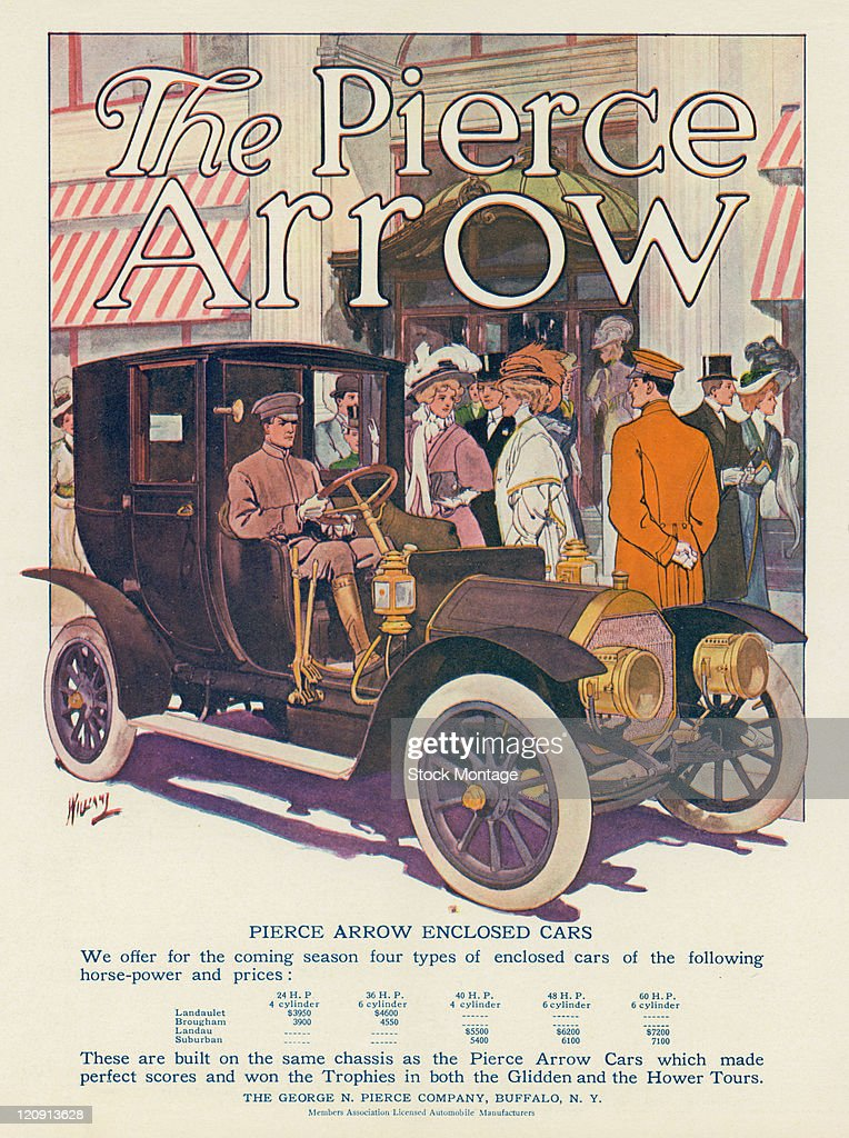A Pierce Arrow automobile driven by a chauffeur is shown in a magazine advertisement from 1908 The car pictured has an enclosed riding area for...