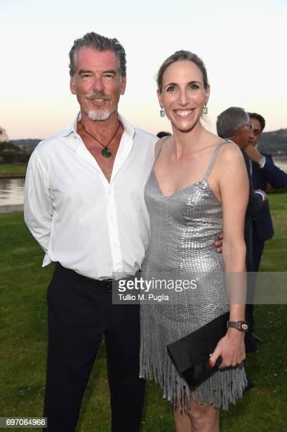 Pierce Brosnan and Diana Luna attend The Costa Smeralda Invitational Gala Dinner at Cala di Volpe Hotel Costa Smeralda on June 17 2017 in Olbia Italy