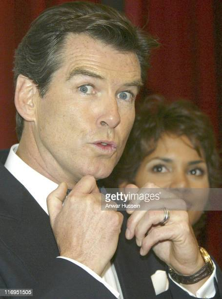 Pierce Brosnan and Halle Berry during 'Die Another Day' London Premiere Inside Arrivals at Royal Albert Hall in London Great Britain