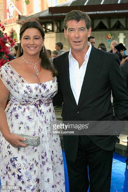 Pierce Brosnan and his wife Keely Shaye arrive at the World Premiere of Mamma Mia the movie at The Odeon in Leicester Square London on the 30th of...