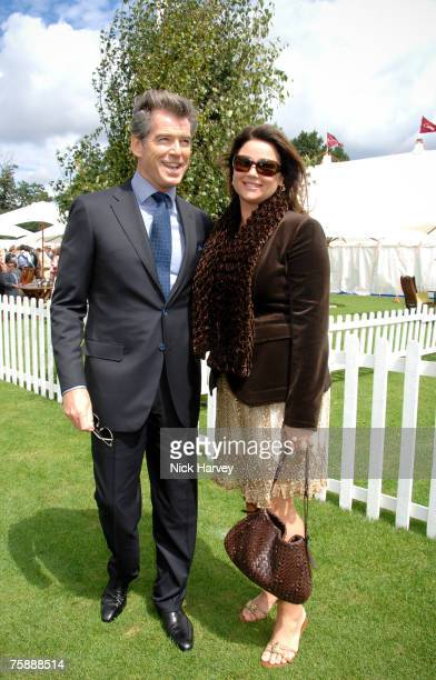 Pierce Brosnan and his wife Keely Shaye Smith at the Cartier International Polo at the Guards Polo Club on July 29 2007 in Windsor England