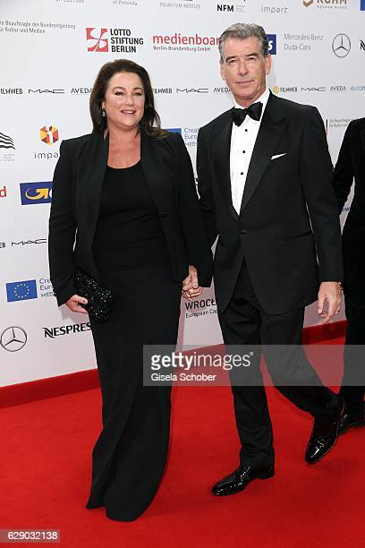 Pierce Brosnan and his wife Keely Shaye Smith during the 29th European Film Awards at National Forum of Music on December 10 2016 in Wroclaw Poland