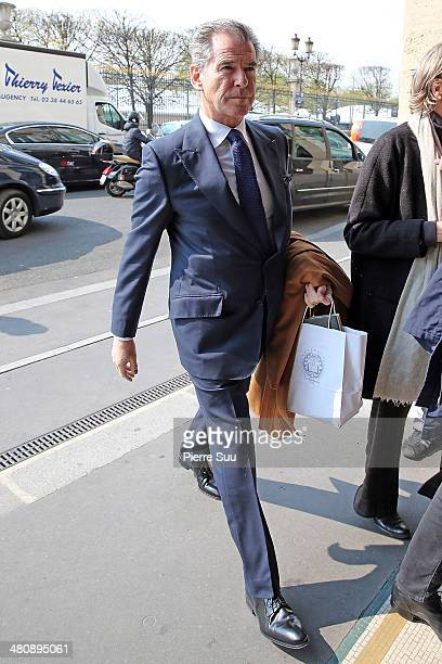 Pierce Brosnan and his wife Keely Shaye Smith return to their hotel on March 27 2014 in Paris France