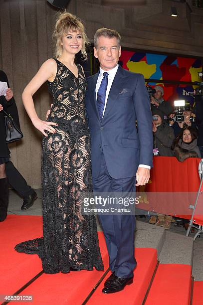 Pierce Brosnan and Imogen Poots attend the 'A long way down' premiere during 64th Berlinale International Film Festival at FriedrichstadtPalast on...