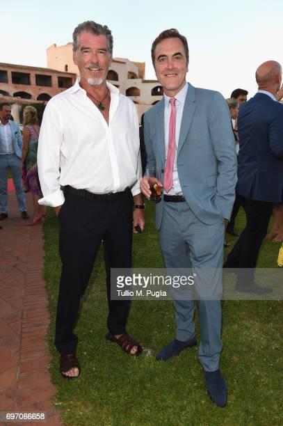 Pierce Brosnan and James Nesbitt attend The Costa Smeralda Invitational Gala Dinner at Cala di Volpe Hotel Costa Smeralda on June 17 2017 in Olbia...