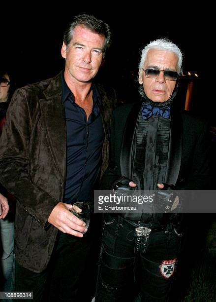 Pierce Brosnan and Karl Lagerfeld during Dom Perignon Karl Lagerfeld and Eva Herzigova Host an International Launch Event to Unveil the New Image of...