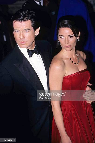 Pierce Brosnan and Keely Shaye Smith during GoldenEye UK Film Premiere November 1 1995 at Leicester Square in London Great Britain