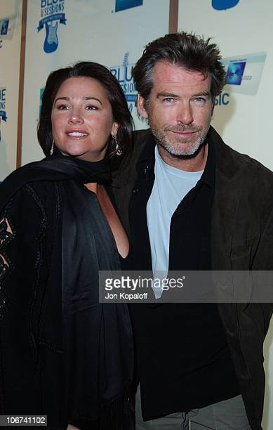 Pierce Brosnan and wife Keely Shaye Smith arrive at House of Blues for Blue Jam Sessions presented by Blue from American Express to help generate...