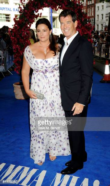 Pierce Brosnan and wife Keely Shaye Smith arrive at the UK film premiere of 'Mamma Mia' the Movie at the Odeon Leicester Square on June 30 2008 in...