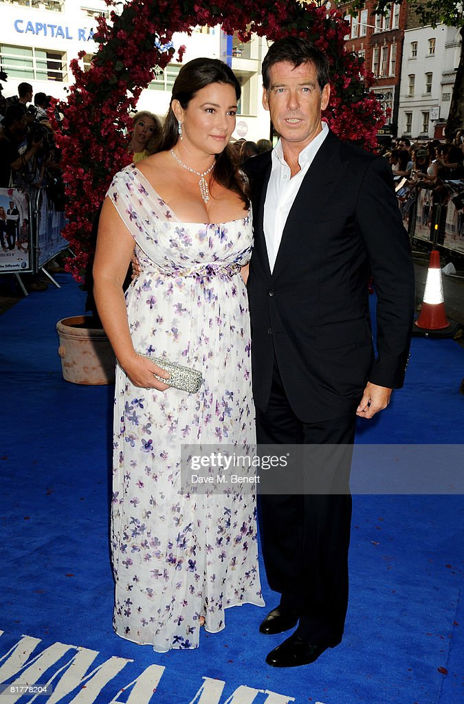 Pierce Brosnan and wife Keely Shaye Smith arrive at the UK film premiere of 'Mamma Mia!' the Movie at the Odeon Leicester Square on June 30, 2008 in London, England.