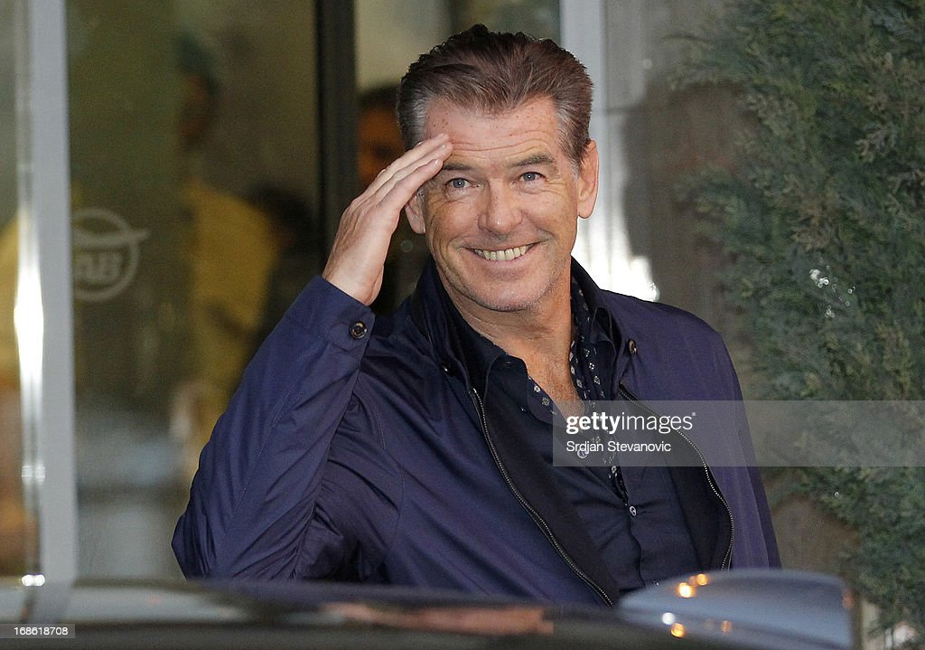 <a gi-track='captionPersonalityLinkClicked' href=/galleries/search?phrase=Pierce+Brosnan&family=editorial&specificpeople=194774 ng-click='$event.stopPropagation()'>Pierce Brosnan</a> arrives In Belgrade To Start Filming 'November Man' on May 12, 2013 in Belgrade, Serbia.