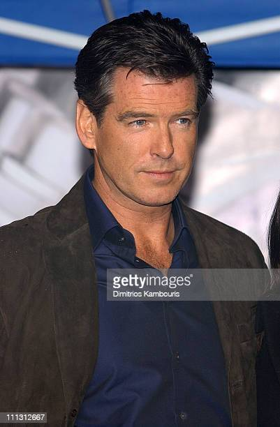 Pierce Brosnan during Omega Rolls Into Times Square With 007 Himself Brosnan Pierce Brosnan at Times Square in New York City New York United States
