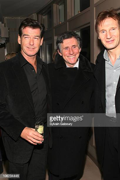 Pierce Brosnan Gabriel Byrne and Liam Neeson during 'Seraphim Falls' After Party Hosted by The Cinema Society at Soho Grand Penthouse at 310 West...