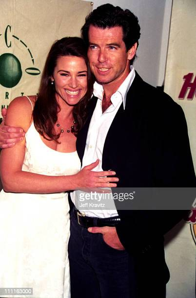 Pierce Brosnan Keely Shaye Smith during 1996 Eco Neighbors at Hard Rock Cafe in Los Angeles California United States