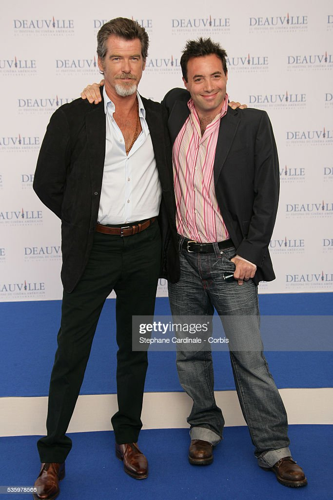 Pierce Brosnan, Richard Shepard pose for 'The Matador' photocall during the 31st American Deauville Film Festival.