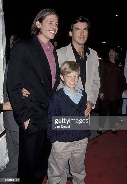 Pierce Brosnan with sons Christopher and Sean during 'Mrs Doubtfire' Los Angeles Premiere at Academy Theater in Beverly Hills California United States
