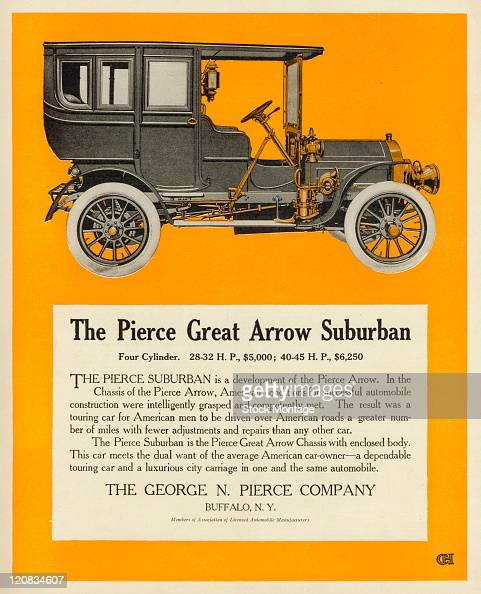 """A Pierce Great Arrow Suburban automobile is pictured in a magazine advertisement dated 1906 The ad states """"This car meets the dual want of the..."""